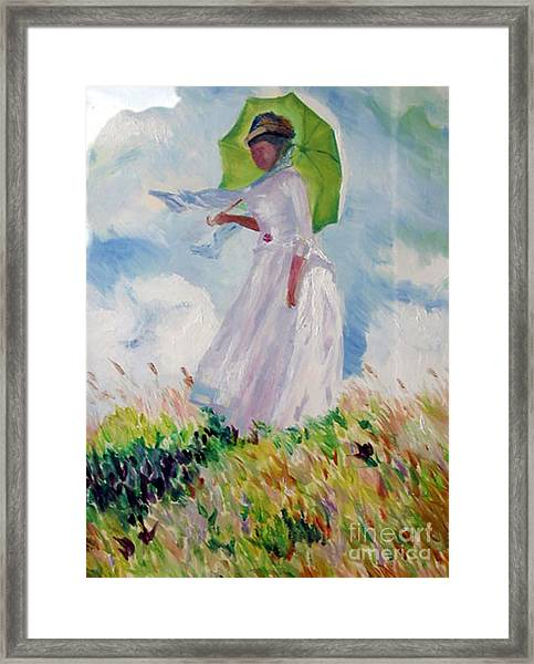 Woman With A Parasol Framed Print