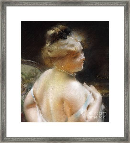 Woman With A Pearl Necklace Framed Print