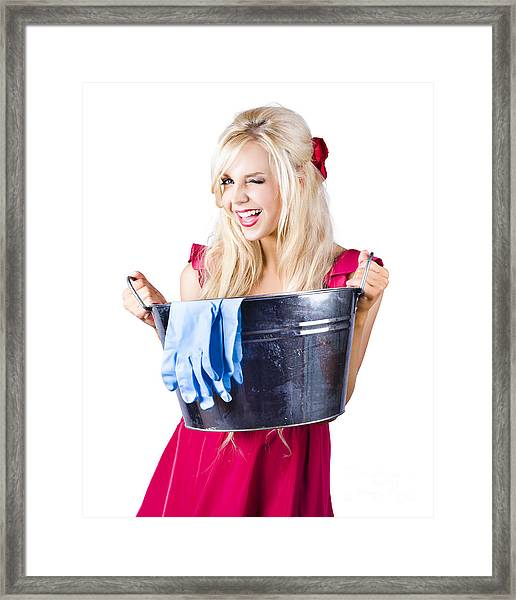 Woman With Bucket And Rubber Gloves Framed Print
