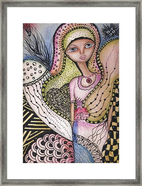 Woman With Large Eyes Framed Print