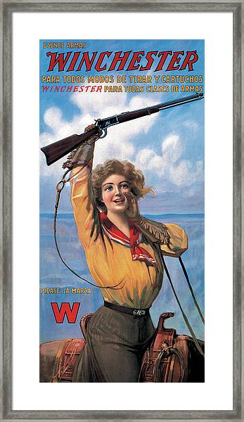 Woman With Model 92 Framed Print