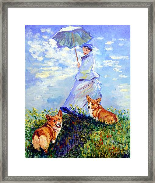 Woman With Parasol And Corgis After Monet Framed Print by Lyn Cook