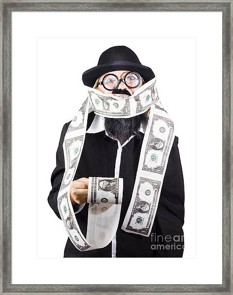 Woman Wrapped In Money Framed Print