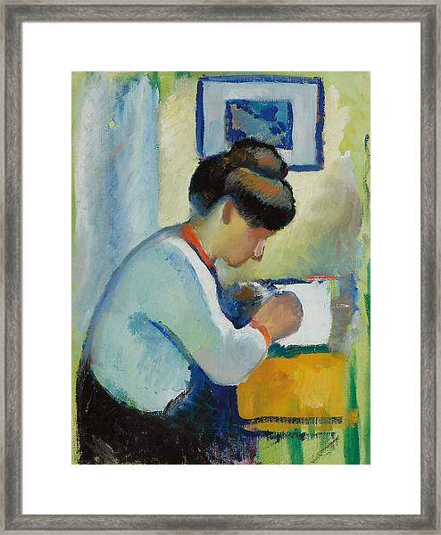 Woman Writing Framed Print