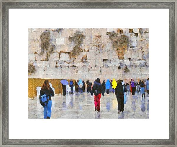 Women At The Wall Framed Print