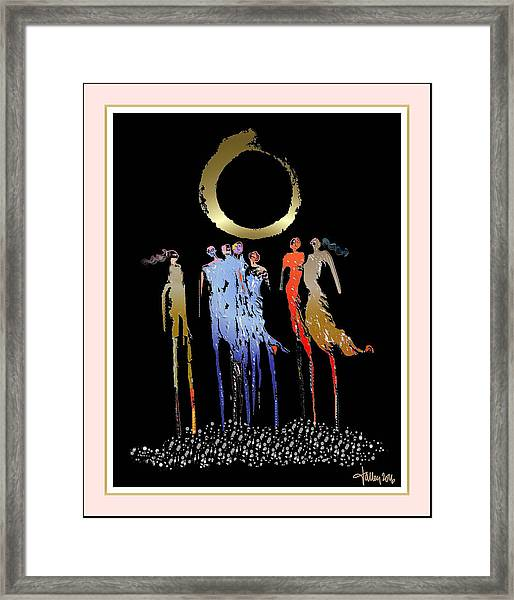 Framed Print featuring the digital art Women Chanting - Enso  by Larry Talley