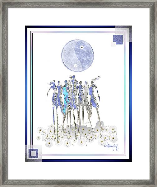 Framed Print featuring the digital art Women Chanting - Full Moon Flower Song by Larry Talley