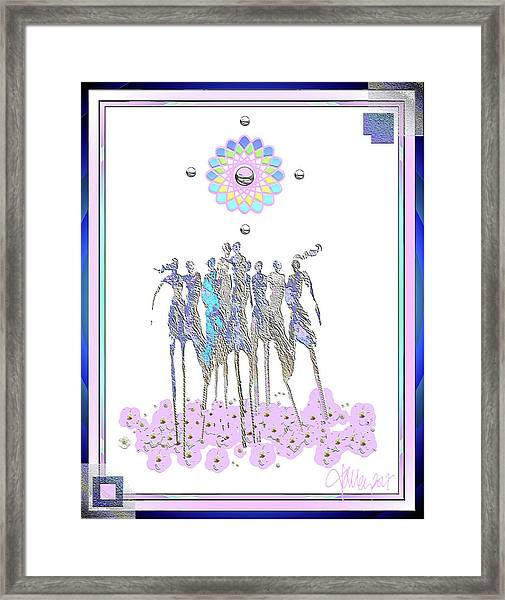 Framed Print featuring the mixed media Women Chanting - Pink Full Moon 2017 by Larry Talley