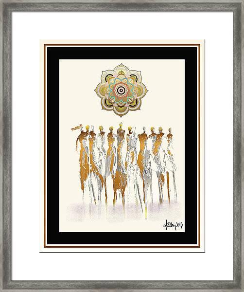 Framed Print featuring the digital art Women Chanting Mandala by Larry Talley