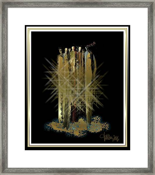 Framed Print featuring the painting Women Chanting -  Song Of The Pleiades  by Larry Talley
