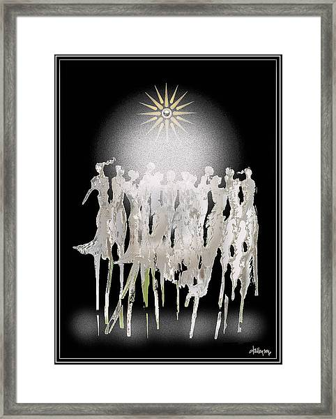 Framed Print featuring the digital art Women Chanting - Spirit Dance by Larry Talley