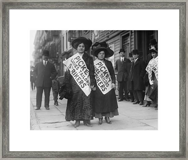 Women Strike Pickets From Ladies Framed Print