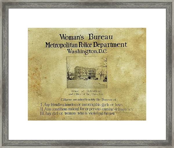 Women's Bureau House Of Detention Poster 1921 Framed Print