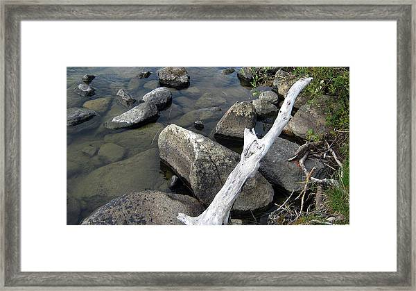 Wood And Rocks In Water Framed Print