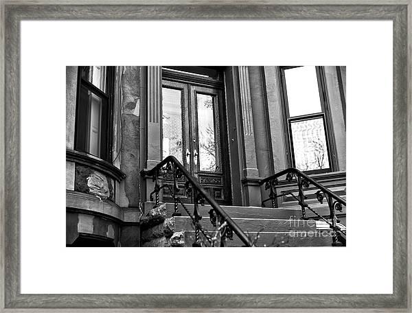 Wood Door In Park Slope Framed Print by John Rizzuto