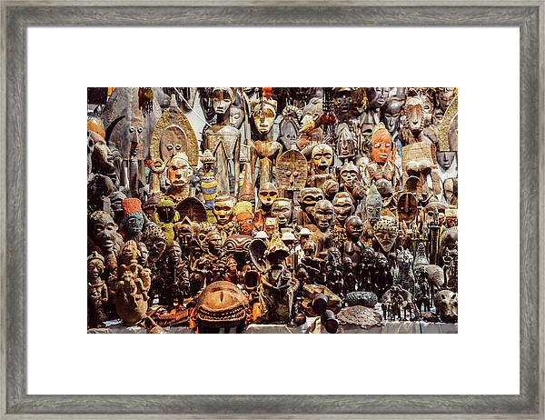 Wooden African Carvings Framed Print