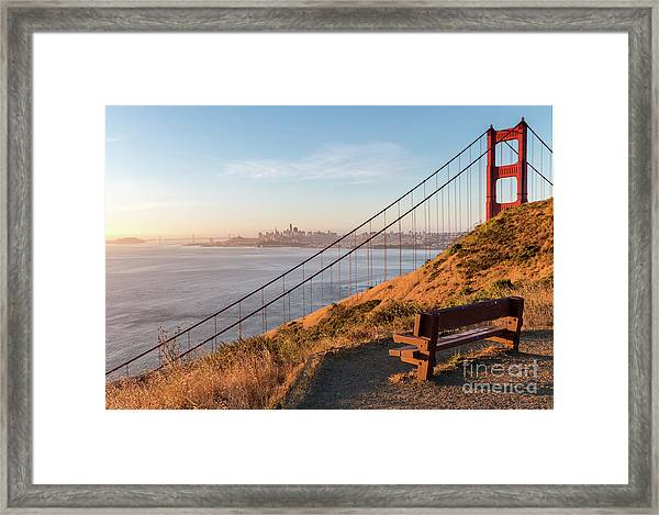 Wooden Bench Overlooking Downtown San Francisco With The Golden  Framed Print
