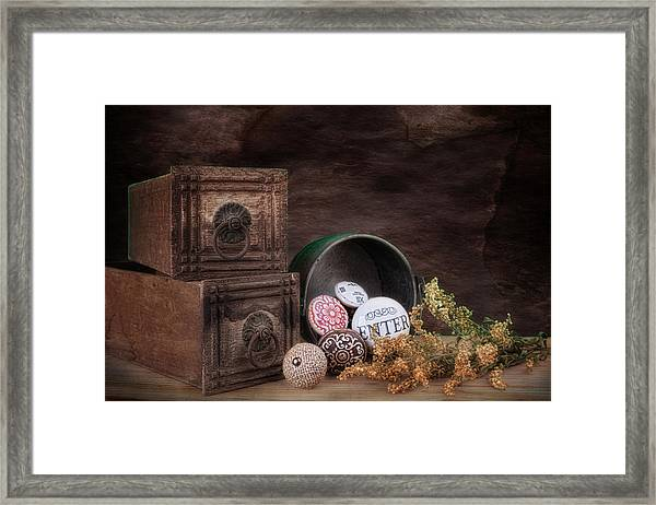 Wooden Drawers And Knobs Still Life Framed Print