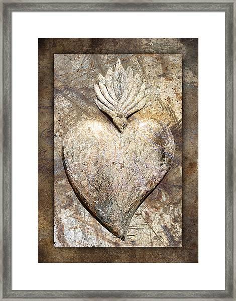 Wooden Heart Framed Print