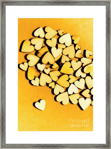 Wooden Hearts With Sentimental Single Framed Print