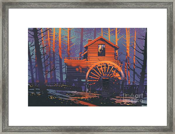 Framed Print featuring the painting Wooden House by Tithi Luadthong