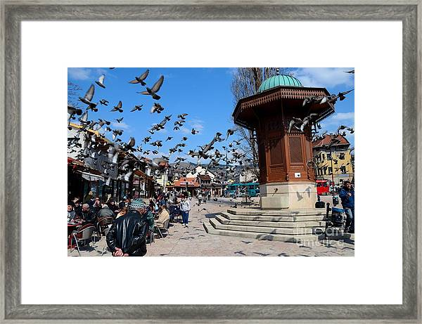 Wooden Ottoman Sebilj Water Fountain In Sarajevo Bascarsija Bosnia Framed Print