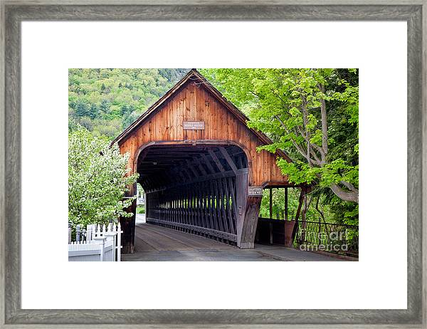 Framed Print featuring the photograph Woodstock Middle Bridge by Susan Cole Kelly