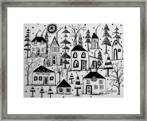 Woodsy Village Framed Print