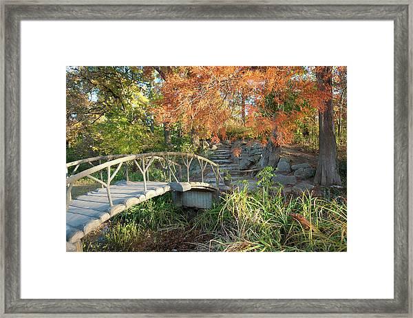 Woodward Park Bridge In Autumn - Tulsa Oklahoma Framed Print