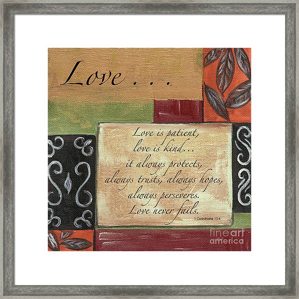 Words To Live By Love Framed Print
