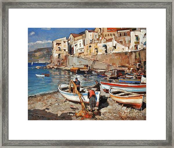 Work Never Ends For Amalfi Fishermen Framed Print