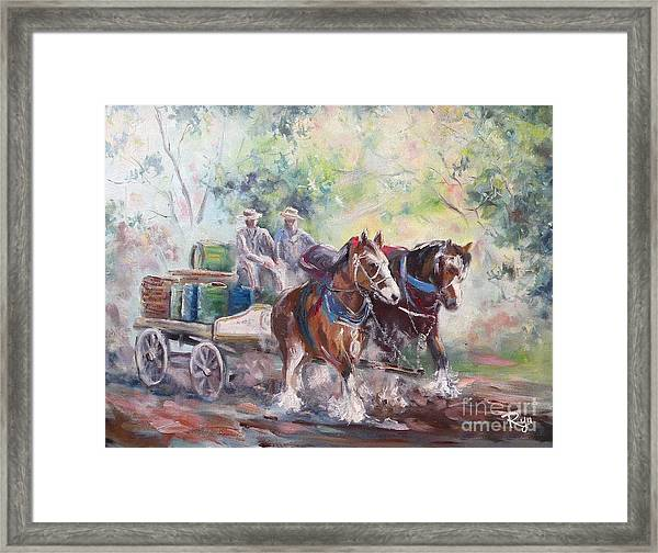 Working Clydesdale Pair, Victoria Breweries. Framed Print