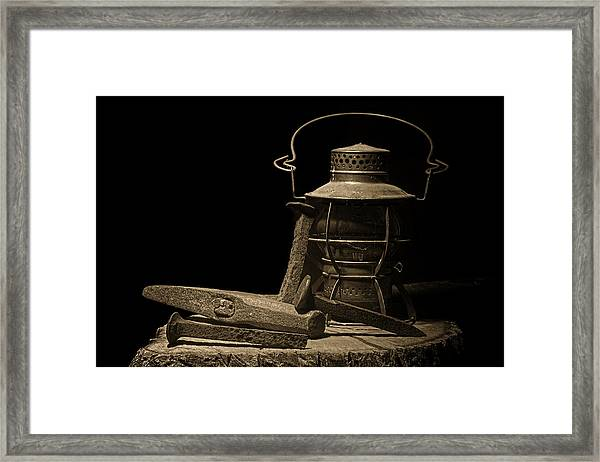 Working On The Railroad Still Life Framed Print