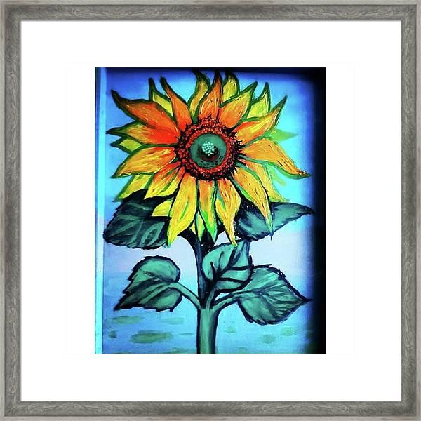 Working On This Sunflower. #sunflower Framed Print