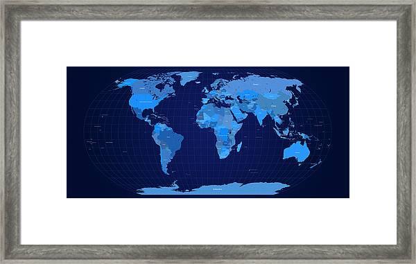World Map In Blue Framed Print