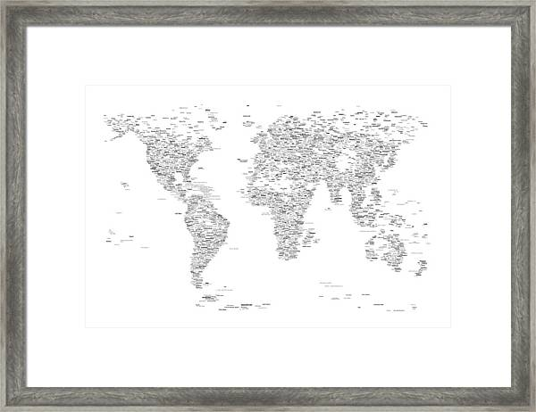 World Map Of Cities Typography Map Framed Print