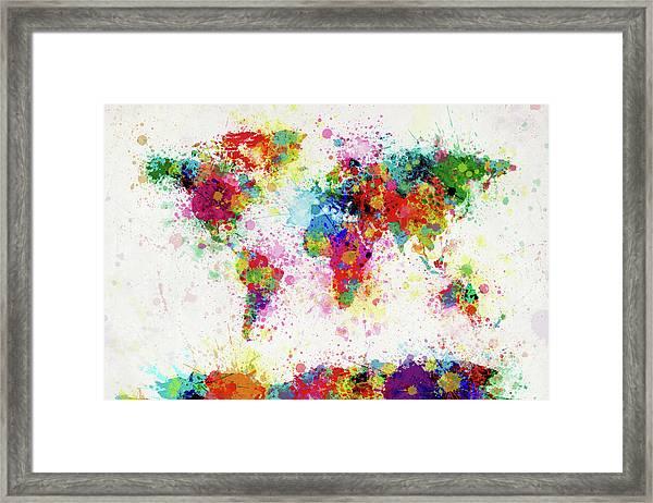 World Map Paint Drop Framed Print