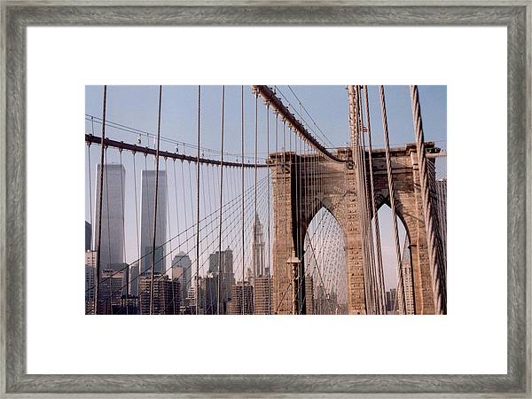 World Trade Center And Brooklyn Bridge Framed Print