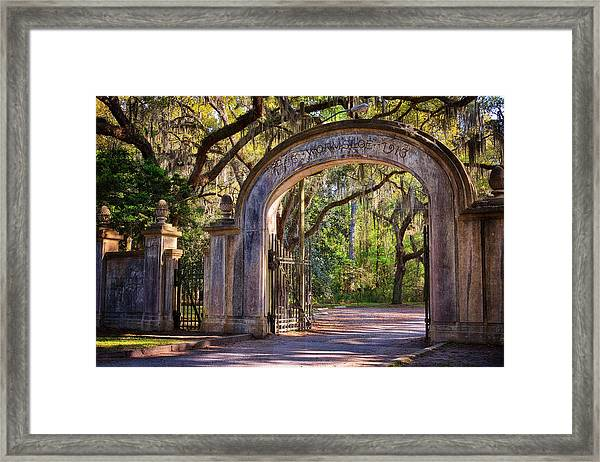 Wormsloe Plantation Gate Framed Print