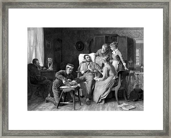 Wounded Soldier At The Battle Of Gettysburg Framed Print
