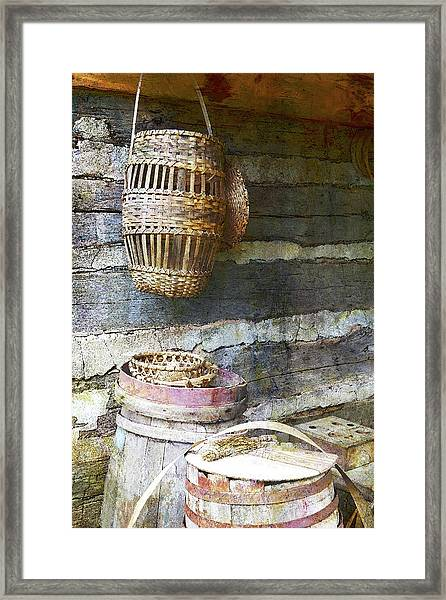 Woven Wood And Stone Framed Print
