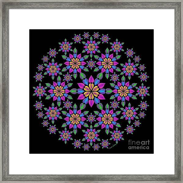 Wreath Of Heart Flowers Framed Print
