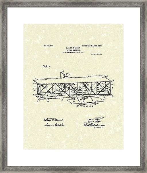 Wright  Brothers Flying Machine 1906 Patent Art Framed Print