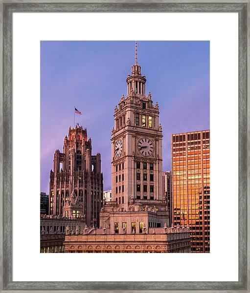 Wrigley And Tribune Buildings Framed Print