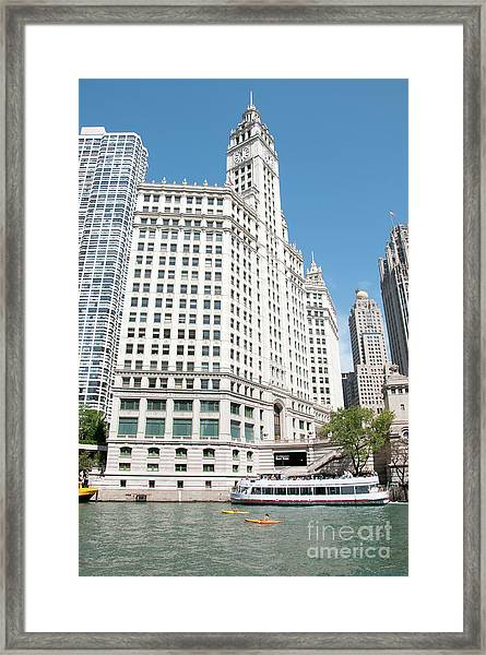 Wrigley Building Overlooking The Chicago River Framed Print