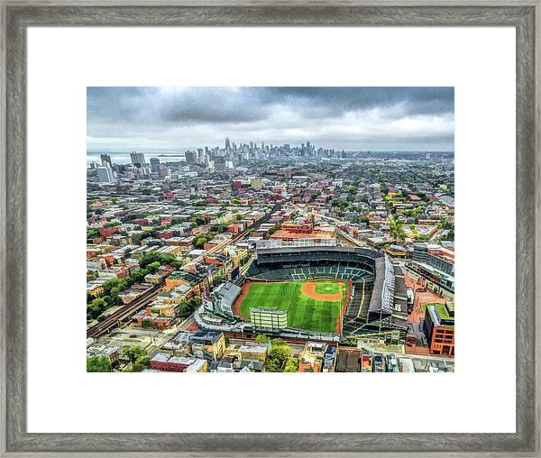 Wrigley Field Chicago Skyline Framed Print