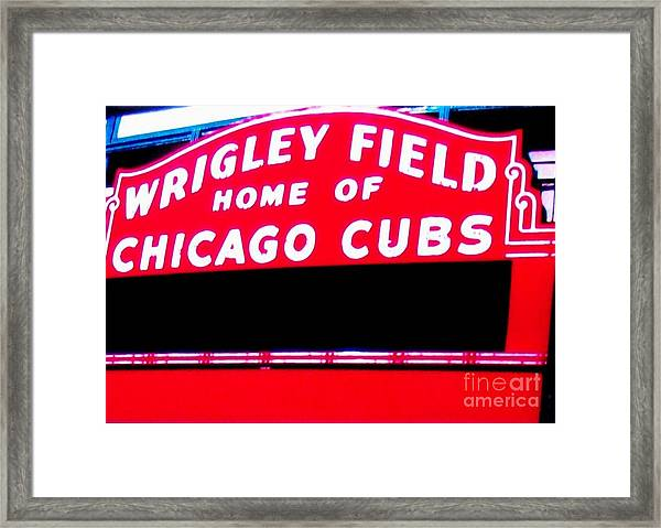 Wrigley Field Sign Framed Print by Marsha Heiken