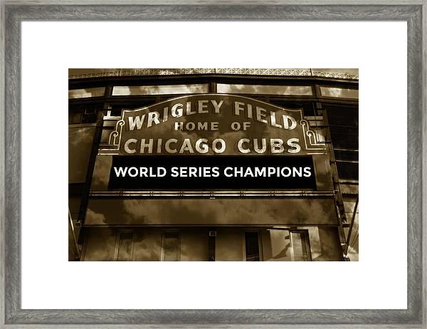 Wrigley Field Sign - Vintage Framed Print