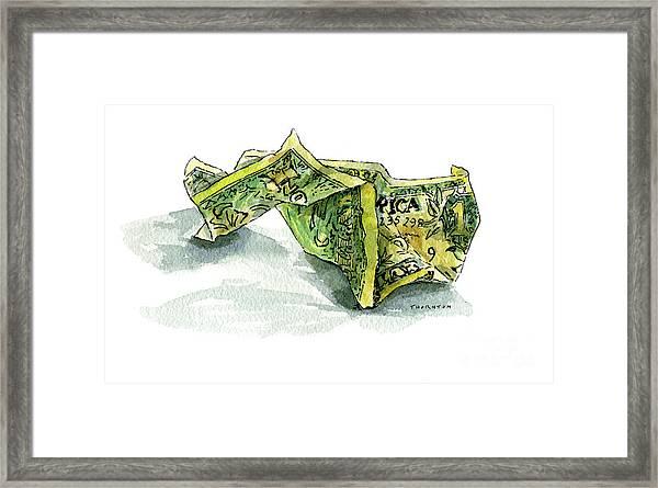 Wrinkled Dollar Framed Print