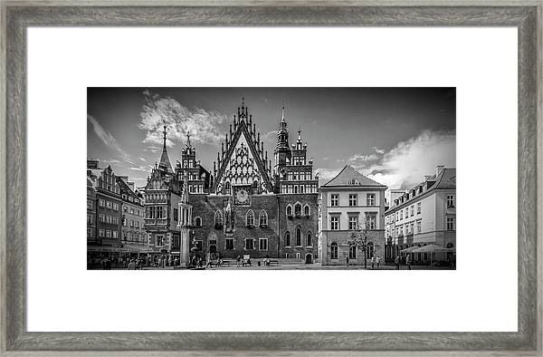 Wroclaw Main Market Square And Town Hall - Panorama Monochrome Framed Print